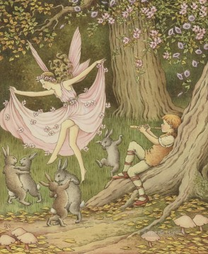 Fairy Painting - dancing fairy and hares for kid