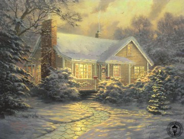 Christmas Cottage Thomas Kinkade kids Oil Paintings