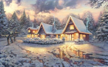 Christmas Lodge Thomas Kinkade kids Oil Paintings