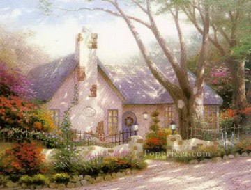 Christmas Painting - Morning Glory Cottage Thomas Kinkade kids