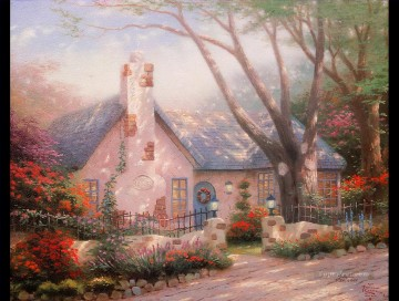Christmas Painting - Morning Glory Cottage detail Thomas Kinkade kids