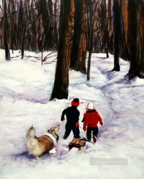 Snow Days in Christmas kids Oil Paintings