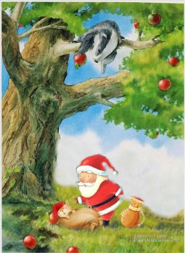 Christmas Painting - Snake apple and Santa Claus original oil painting kids