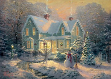baptism of christ Painting - Blessings of Christmas Thomas Kinkade kids