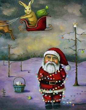Claus Oil Painting - Santa Claus Sleigh Jacker kids