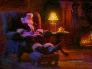 santa painting - Santa Claus after Milk and cookie kids