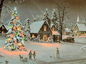 Christmas Painting - Snowman and cottages at Christmas kids