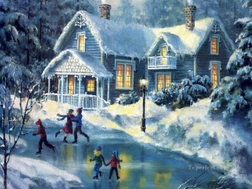 kids children skating on lake Christmas cottage Oil Paintings