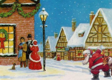 Christmas Painting - The Santa Claus slip into the residential district to deliver gifts original oil painting kids
