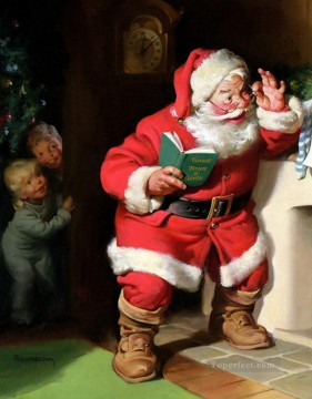 XS025 kids Christmas Santa Claus Oil Paintings