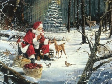 XS029 kids Christmas Santa Claus Oil Paintings