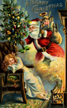 XS083 kids Christmas Santa Claus Oil Paintings