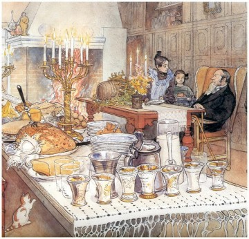 Carl Larsson Christmas eve kids Oil Paintings