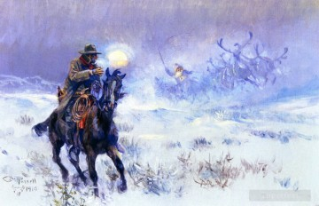 Artworks in 150 Subjects Painting - Cowboy seeing santa claus sitting sled reindeer 1910 Charles Marion Russell