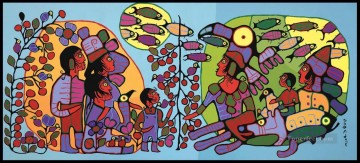 Christmas Painting - Observations of the Astral World Norval Morrisseau kids