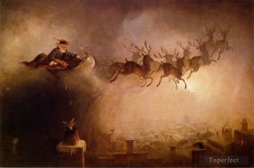Artworks in 150 Subjects Painting - Santa Claus deliver Christmas gifts at night on sled reindeer William Holbrook Beard