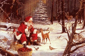 Santa Claus deliver Christmas gifts to animals in forest trees snow Oil Paintings