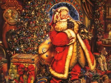 XS035 kids Christmas Santa Claus Oil Paintings