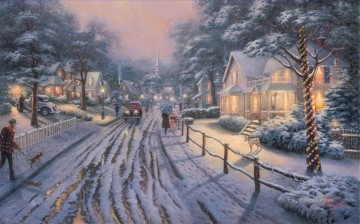 Hometown Christmas Memories Thomas Kinkade kids Oil Paintings