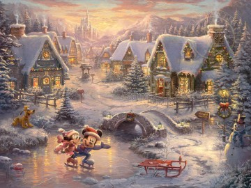 Christmas Painting - Mickey and Minnie Sweetheart Holiday Xmas
