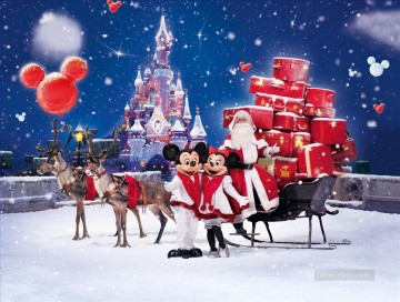 Christmas Painting - Mickey and Santa Claus kids