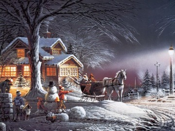 Terry Redlin Winter Wonderland kids Oil Paintings
