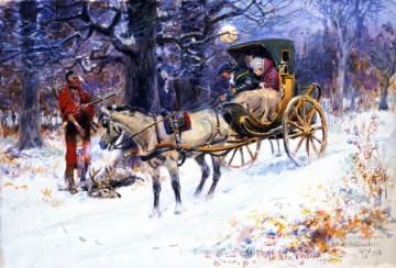 Artworks in 150 Subjects Painting - old christmas in new england 1918 Charles Marion Russell Xmas