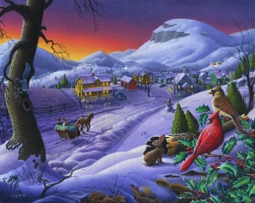 parrots hare and double sledge Christmas Sleigh Ride kids Oil Paintings