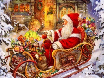 XS104 kids Christmas Santa Claus Oil Paintings