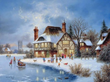 Christmas eve countryside kids Oil Paintings