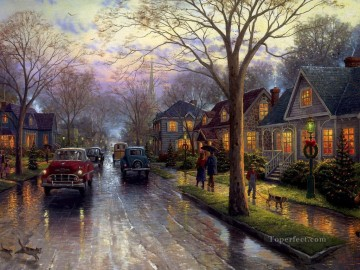 Hometown Christmas Thomas Kinkade kids Oil Paintings