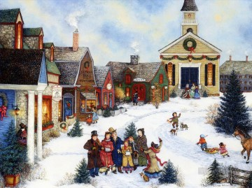 Christmas caroling in the village kids Oil Paintings