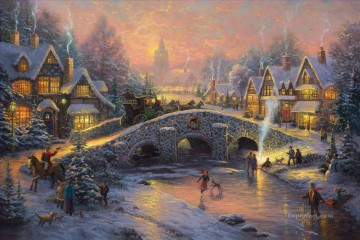 baptism of christ Painting - Spirit of Christmas Thomas Kinkade kids