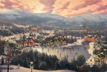 Sunset on Snowflake Lake Xmas Oil Paintings
