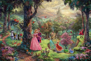 Thomas Kinkade disney sleeping beauty kids Oil Paintings