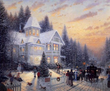 baptism of christ Painting - Victorian Christmas Thomas Kinkade kids