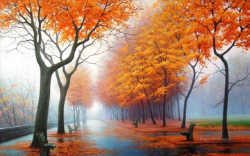 photos Works - Path under Autumn Trees Landscape Painting from Photos to Art