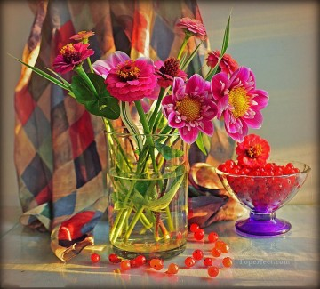 photos Works - Flowers in Vase Still Life Painting from Photos to Art