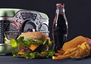 Radio Cocacola Hamburger Chips Painting from Photos to Art Oil Paintings