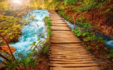 stream Painting - Wooden Path Near Stream Landscape Painting from Photos to Art