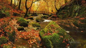 stream Painting - Autumn Stream Fallen Leaves Landscape Painting from Photos to Art