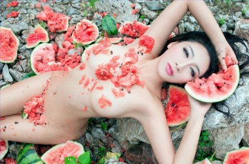 Chinese Girl Nude Watermelon Painting from Photos to Art Oil Paintings