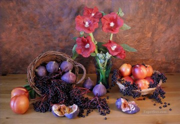 Onion Flowers Pomegranates Nectarine Purple Grape Still Life Painting from Photos to Art Oil Paintings