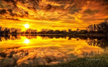 sunset sunrise Painting - Sunrise Golden Clauds Lake Landscape Painting from Photos to Art