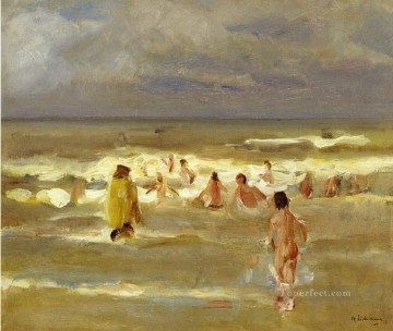 Impressionism Painting - bathing boys 1907 Max Liebermann German Impressionism kids