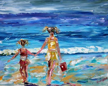 girls at thick paints beach Child impressionism Oil Paintings