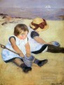 Children Playing On The Beach impressionism mothers children Mary Cassatt