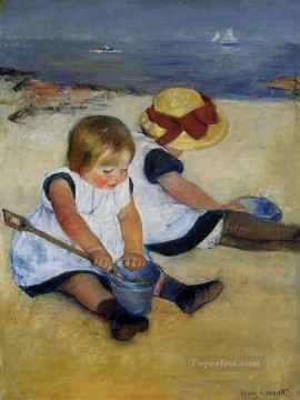 Shore Painting - Children on the Shore impressionism mothers children Mary Cassatt