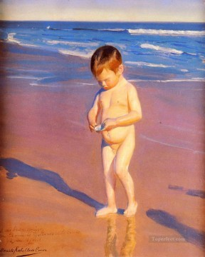 Impressionism Painting - Gathering Shells On The beach Child impressionism