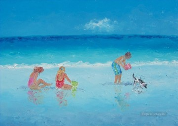 Holiday beach Child impressionism Oil Paintings